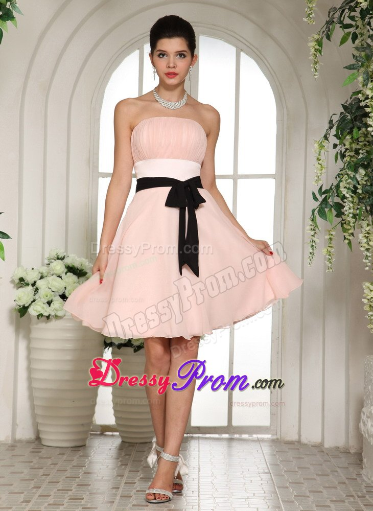 Knee Length Baby Pink Black Sash Prom Dress For Cheap In Usa