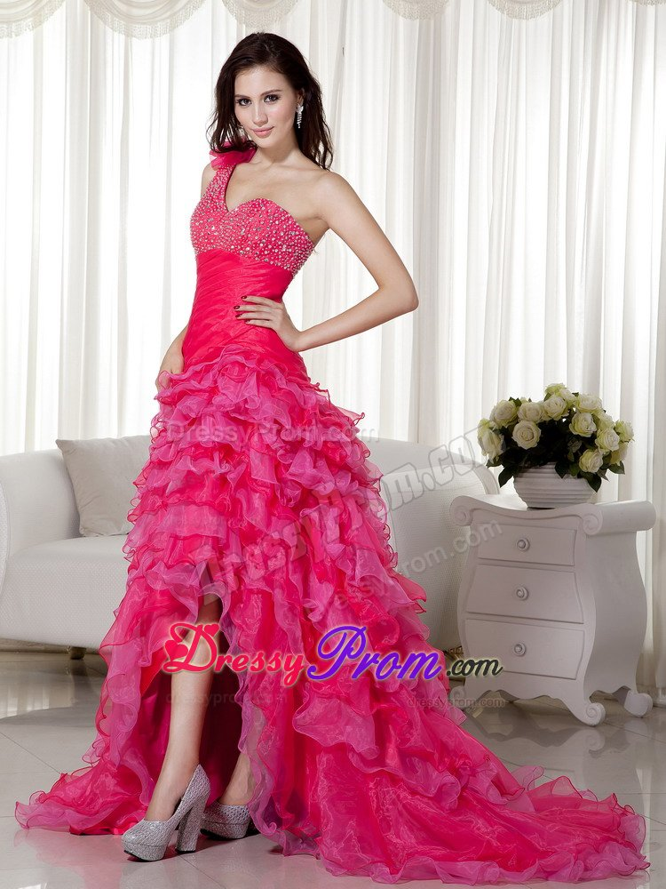 Organza Hot Pink High-low One Shoulder Bead Prom Gown Ruffled