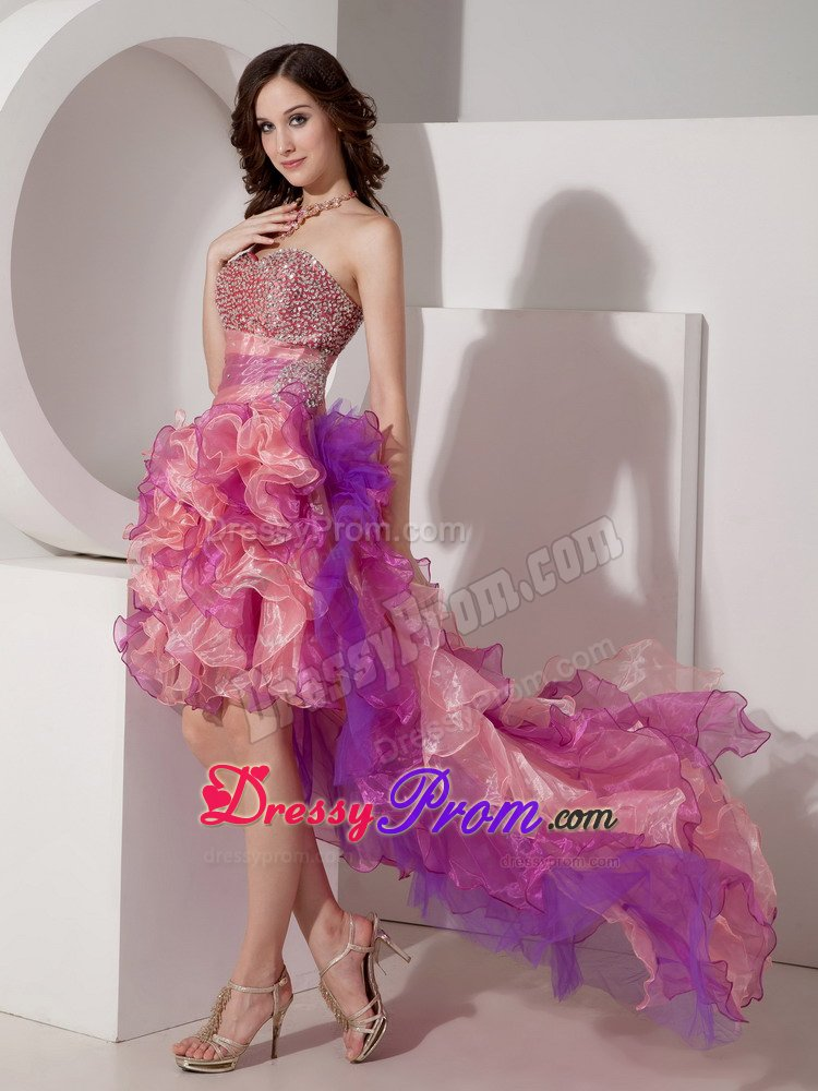 low Ruffled Colorful Sweetheart Prom Dress with Beading