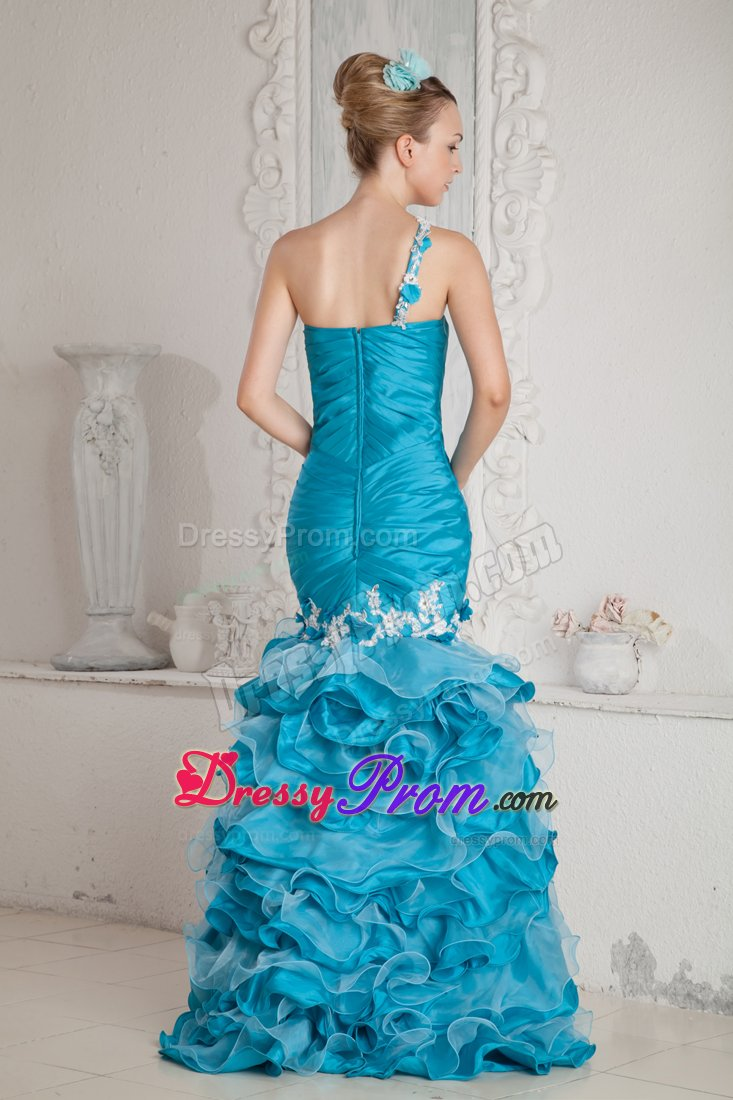 Teal Mermaid Ruffled High-low One Shoulder Appliques Prom Dress