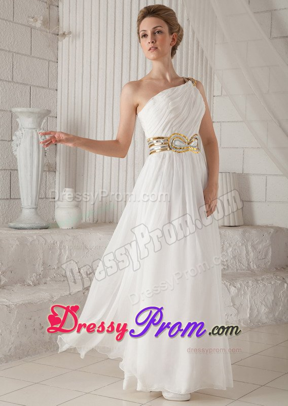 Sequins White Ruched One Shoulder Chiffon Holiday Prom Dress