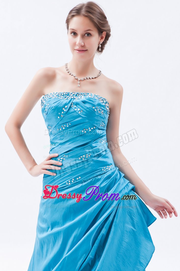 Teal Beading Strapless Taffeta Ruched Prom Dress for Formal Evening