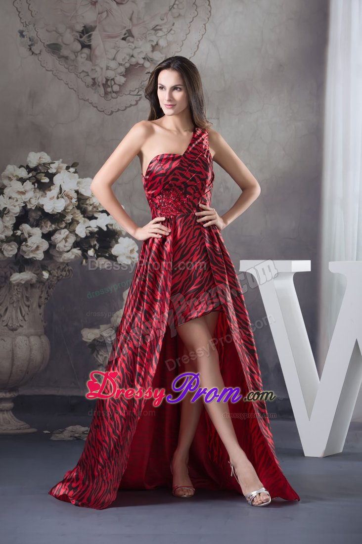 Print One Shoulder High-low Sweep Train Prom Celebrity Dress