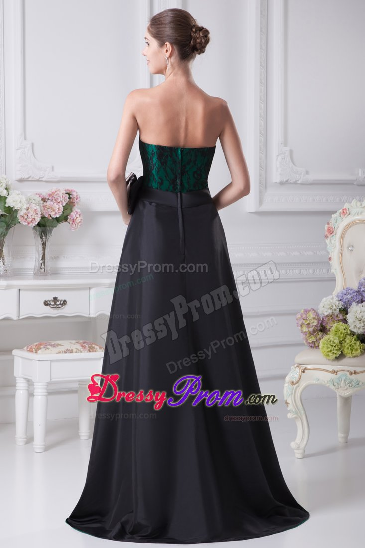 Lace Black And Green Bowknot High Low Homecoming Prom Dresses