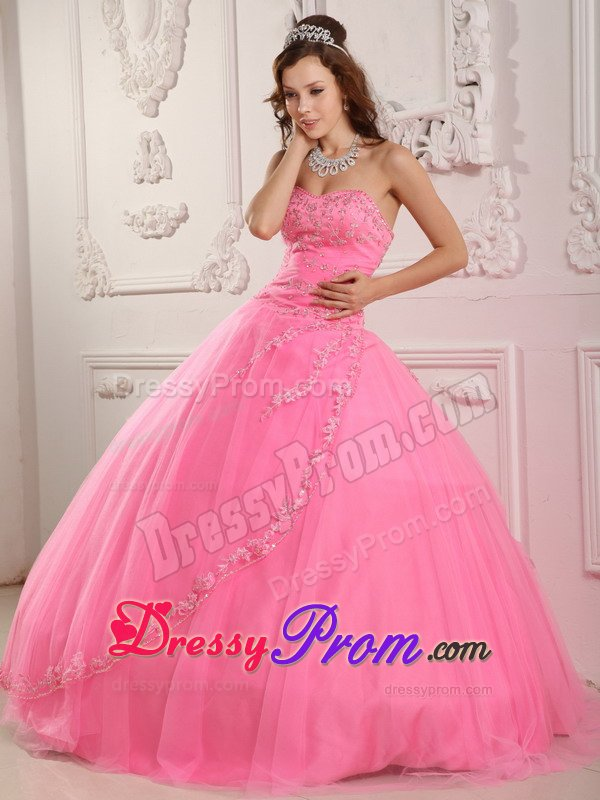 Pink Sweetheart Appliques Layered Tulle Puffy Quinceanera Dress
