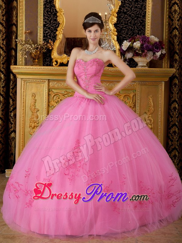 Sweetheart Appliques Puffy Rose Pink Lace Up Sweet 15 Dresses