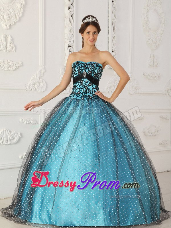Black And Blue Quinceanera Dresses with Appliques Beading