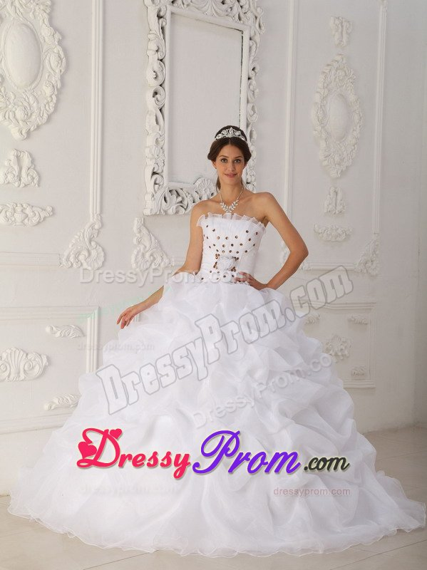 White Sweet 15 Dresses with Orange Handmade Flowers