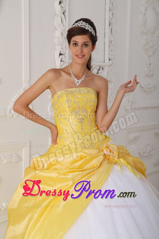 Plus Size Yellow And White Beaded Sweet 15/16 Birthday Dress