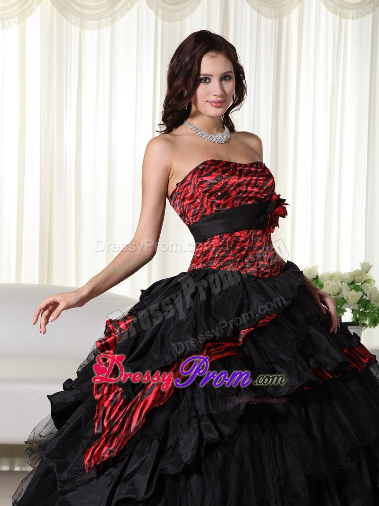 Red and Black Zebra Print Ruffled Quinceanera Dress
