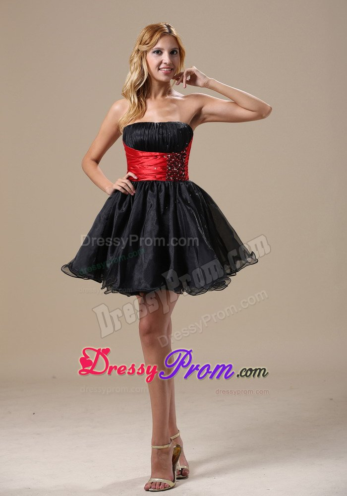 ruched and beaded prom little black dresses with red wide belt