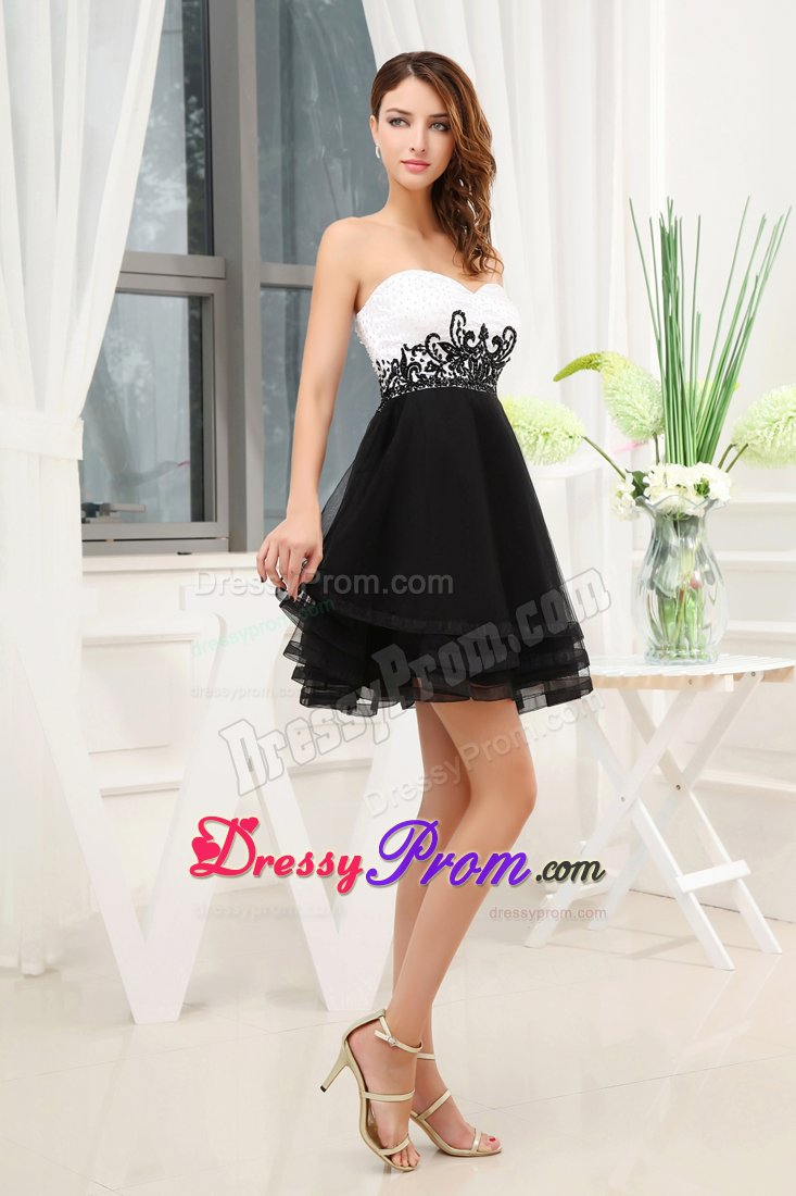 Sweetheart Beaded Appliqued Little Black and White Dress