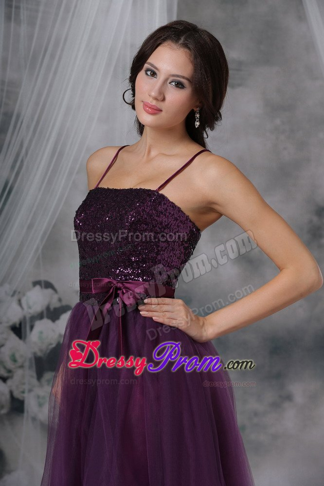 spaghetti straps purple prom cocktail dress with paillette