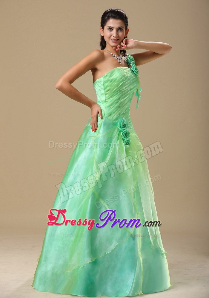 One Shoulder Ruched Apple Green Prom Dress With Flowers