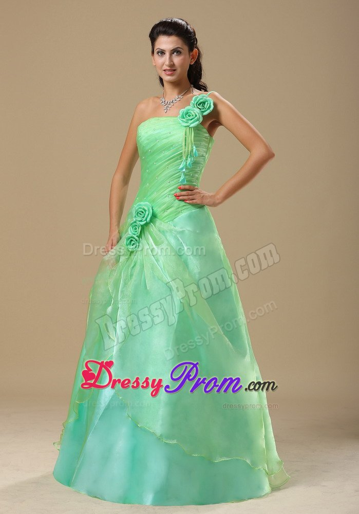 Cute One Shoulder Ruched Apple Green Prom Dress with Flowers