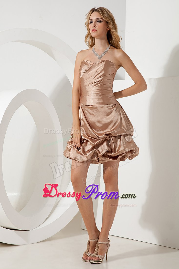 New Ruche Sweetheart JS Prom Dress Ruffles Mini-length in Champagne