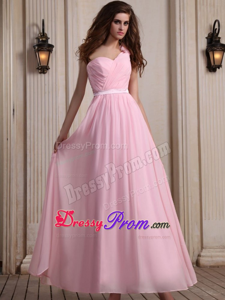 e Shoulder Ankle Length Baby Pink Prom Dress with Flower