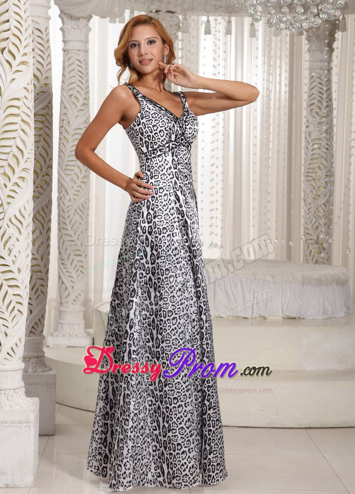 Beaded V Neck White And Black Animal Print Prom Holiday Dresses