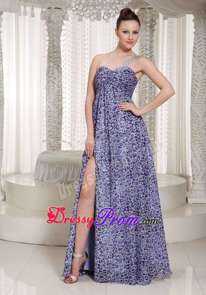 bebbcb9aa49 Animal Print Prom Holiday Dress with One Shoulder and High Slit
