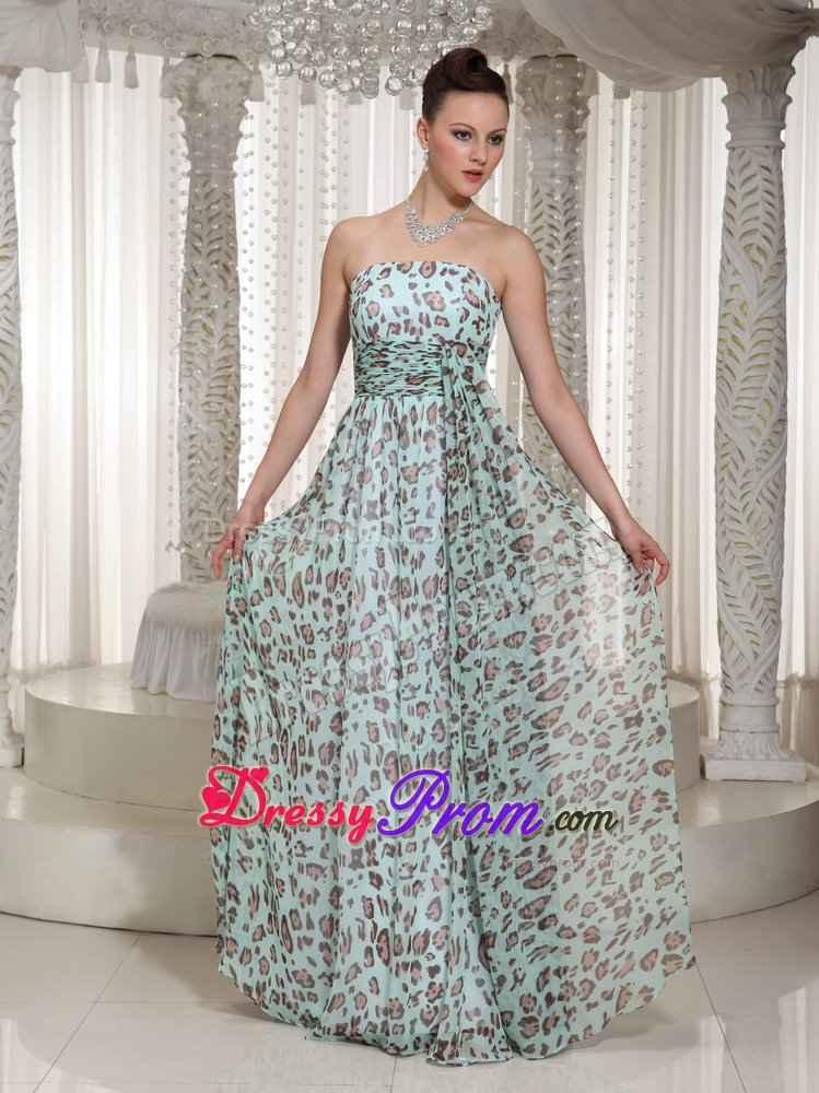 Ca Ruched Floor Length Prom Holiday Dress With Animal Print
