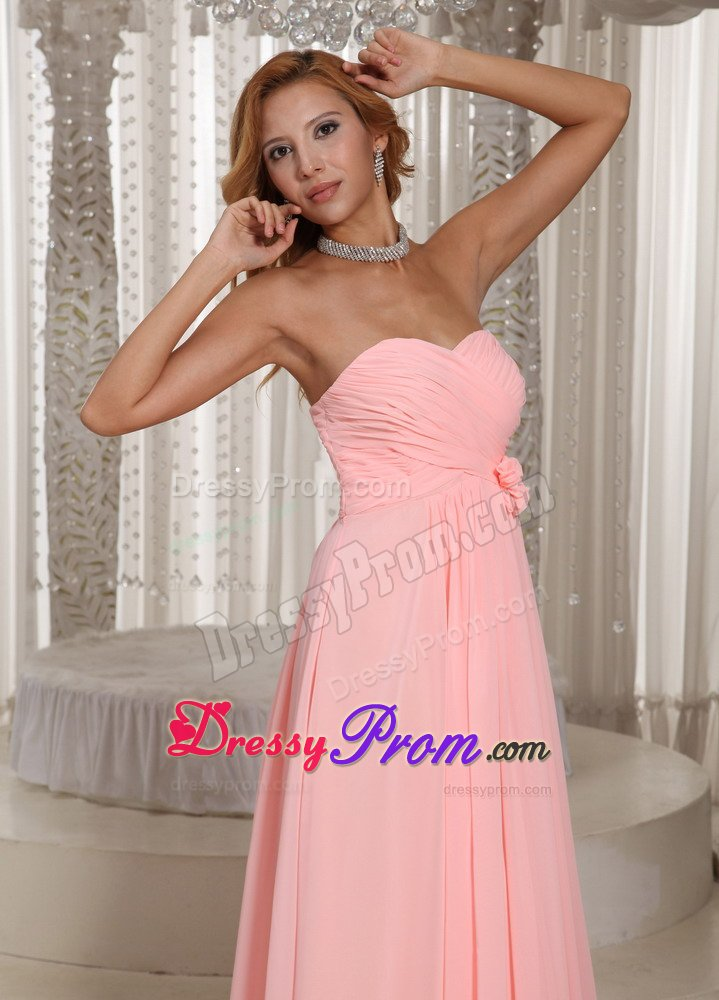 Valley CA Ruched Chiffon Prom Holiday Dress in Baby Pink