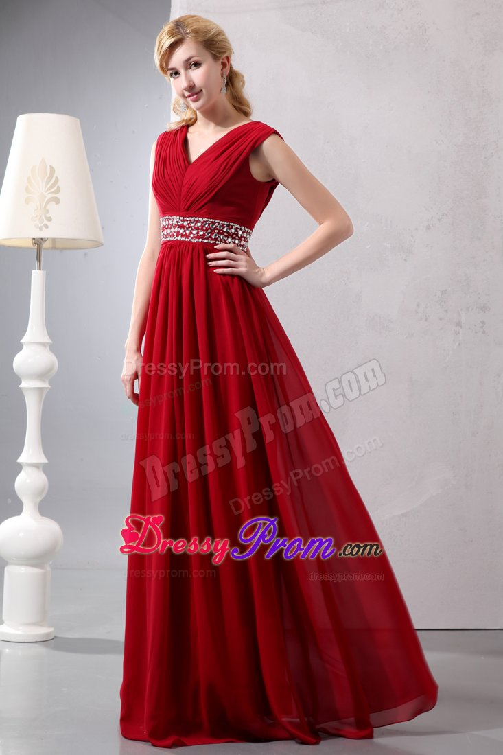 Ruched V Neck Beading Waist Prom Bridesmaid Dresses In