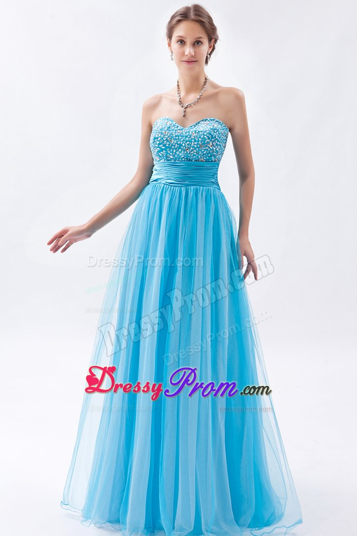 Eureka CA Baby Blue A-line Prom Bridesmaid Dress with Beading