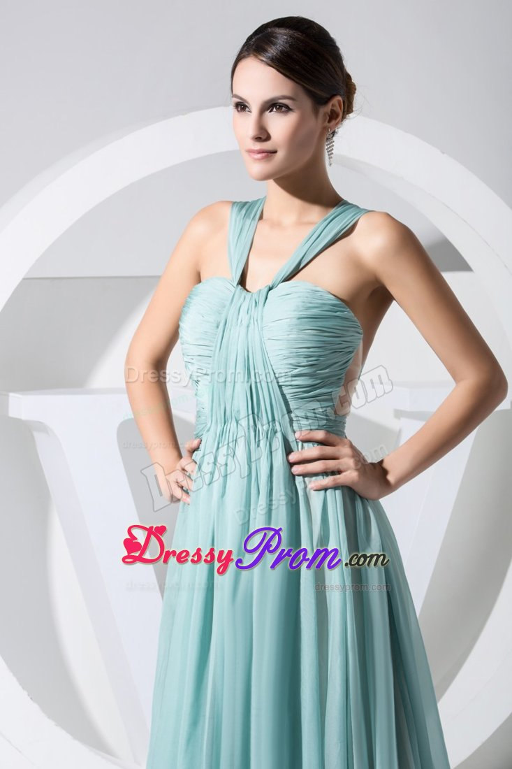 Ruching Accent V-neck Chiffon Prom Maxi Dress with Watteau Train