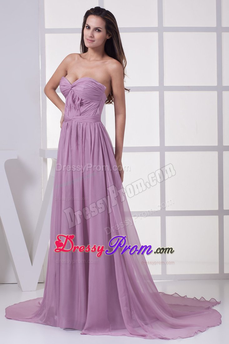 Accent Empire Court Train Lilac Prom Maxi Dress For Cheap