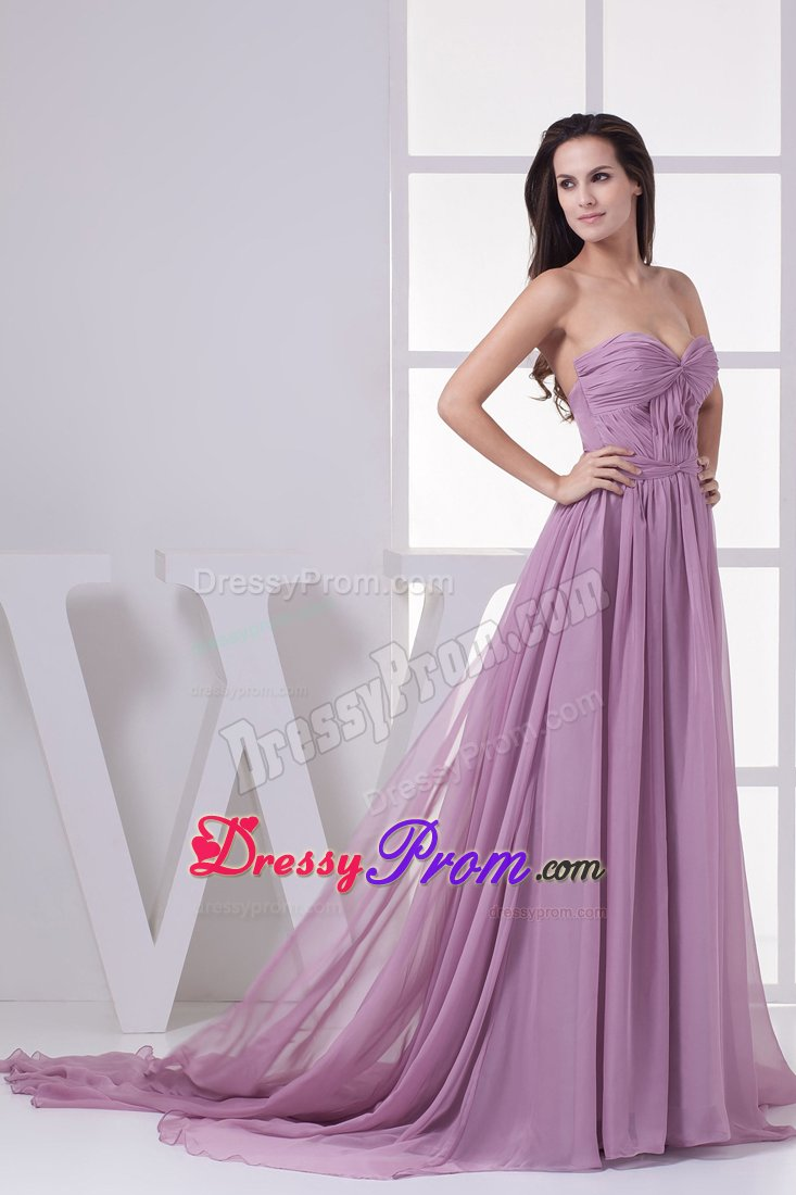 Ruching Accent Empire Court Train Lilac Prom Maxi Dress