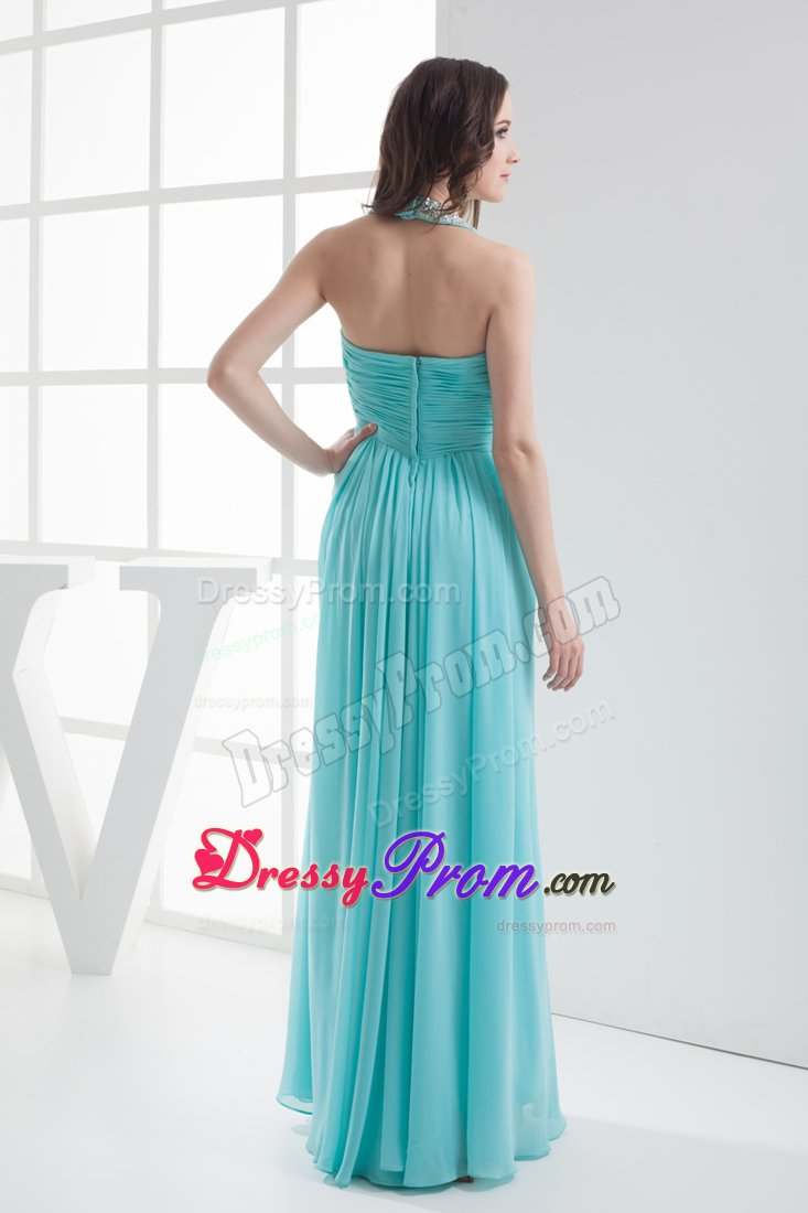 Beaded and Ruched Empire Halter Prom Maxi Dress in Aqua Blue 2014