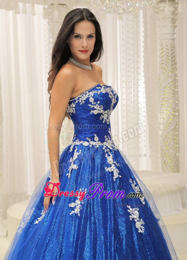 Showy Royal Blue Sweet 16 Birthday Dress with White Appliques