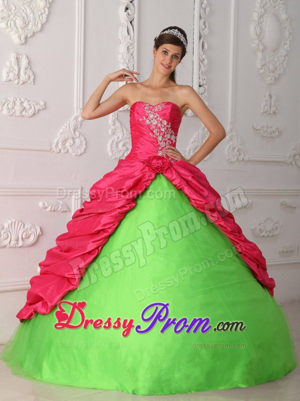 Quinceanera Dresses in Hot Pink and Spring Green 2014