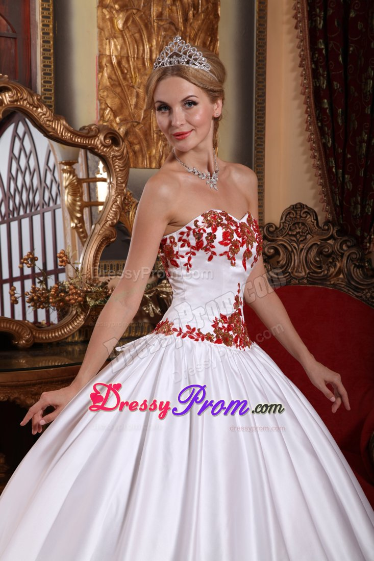 Sweetheart Taffeta Sweet 15 Dresses with Red Appliques