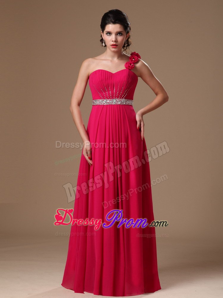 Coral Red One Shoulder Beaded Flowers Formal Evening Prom Dress