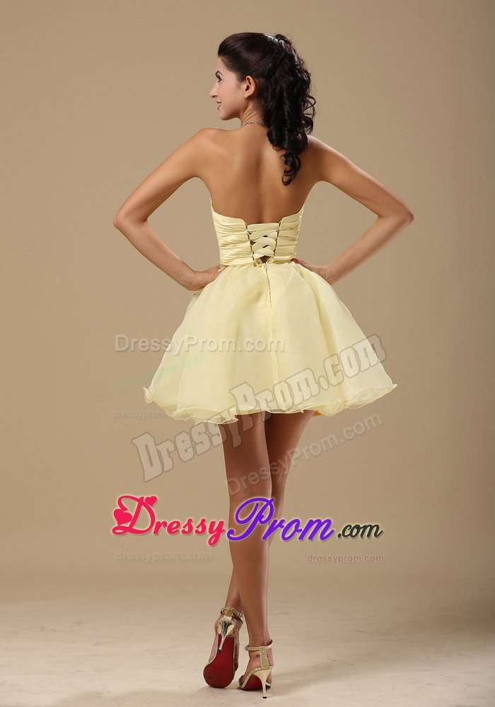 Pale yellow short formal dresses
