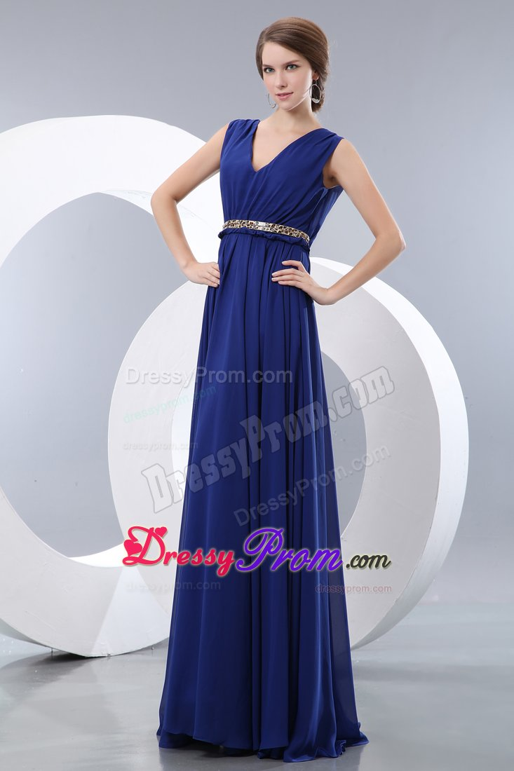Prom Evening Dress Empire V Neck In Royal Blue With Belt