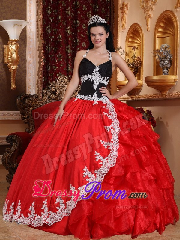 Red and Black Halter Sweet 15 Dresses with Appliques
