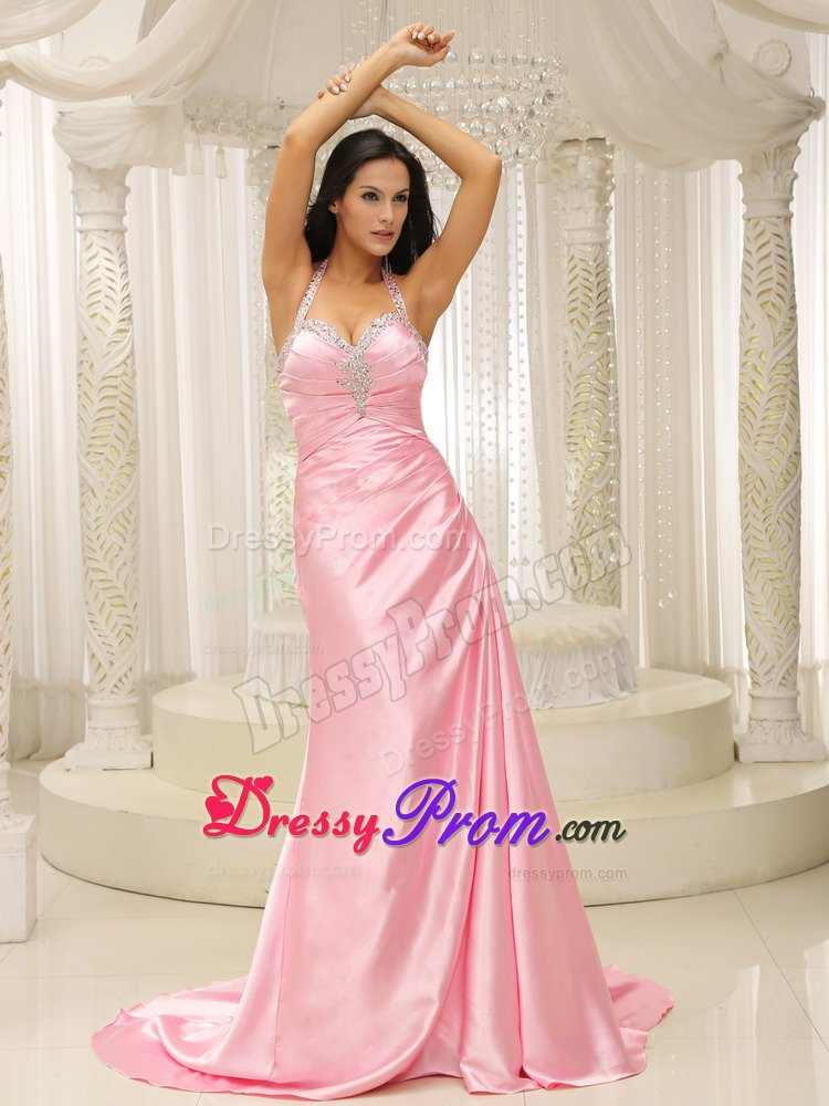 Train Rose Pink Prom Dress