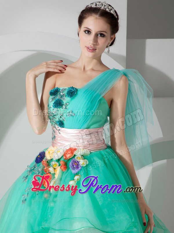 mint green one shoulder highlow appliqued prom homecoming