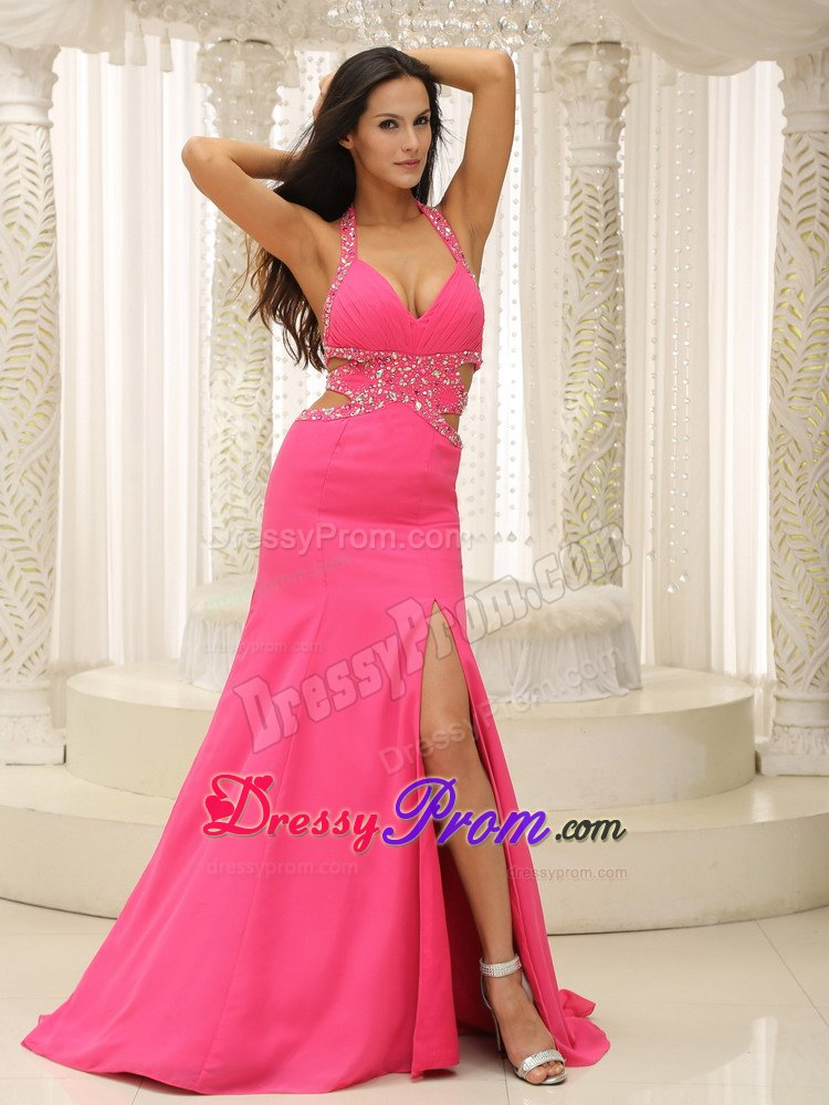 Beading Cutout Straps Prom Homecoming Dress in Hot Pink