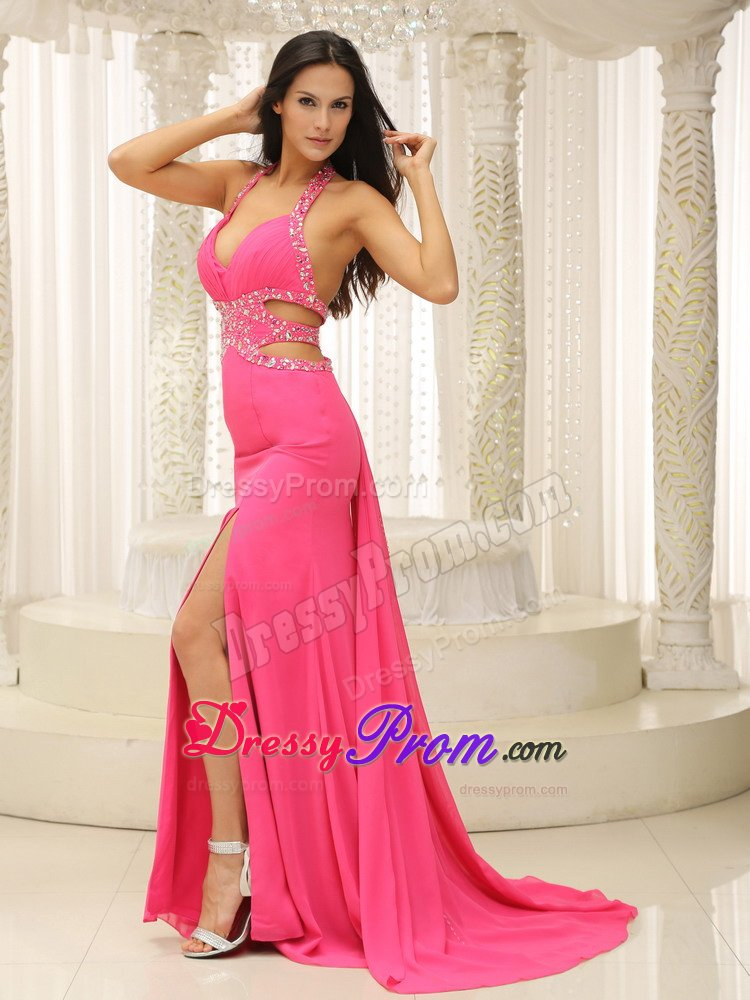 Halter Beading Cutout Straps Prom Homecoming Dress in Hot Pink