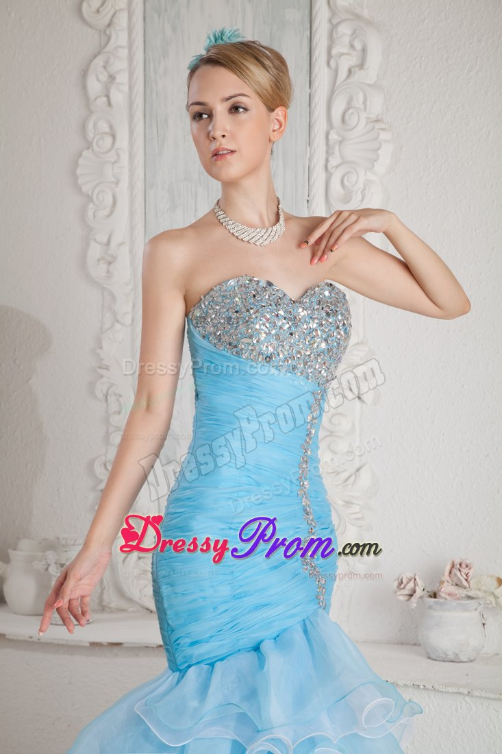 Ruched Sky Blue Organza Prom Pageant Dress with Beading and Ruffles