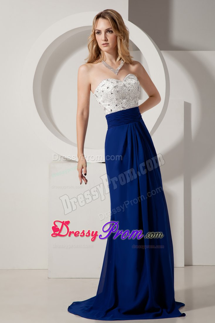 and Royal Blue Brush Prom Celebrity Dress with Rhinestone