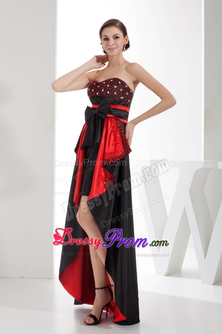 Decorate Sweetheart High-low Prom Dress in Black and Red