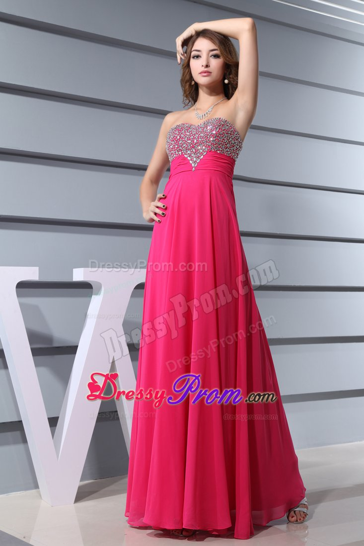 Sweetheart Hot Pink Beaded long Formal Evening Prom Dress
