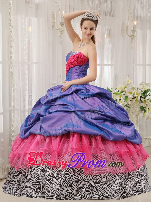 Lavender and Hot Pink Quinceanera Dresses of Zebra Print