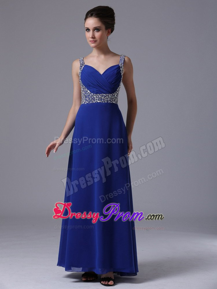 Chiffon Ankle-length Prom Gown Dress Beaded Straps in Royal Blue