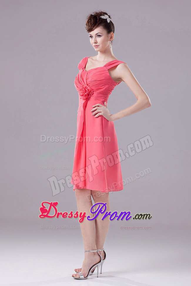 Ruches Accent Watermelon Quinceanera Dama Dress with Straps 2014
