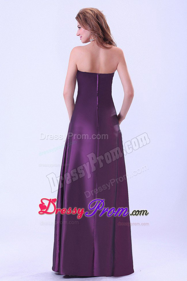 Santa Ana CA Ruched Taffeta Quinceanera Dama Dress In Dark Purple